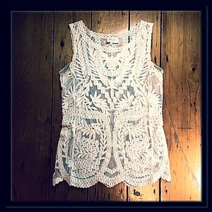 Laundry X Shelli Segal lace mesh tank blouse XS